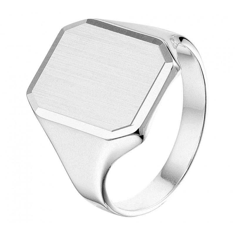 Zilveren monogram ring