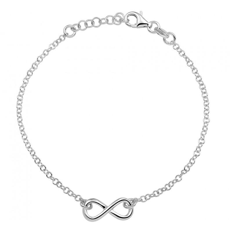 Mooie fijne zilveren bedelarmband infinity