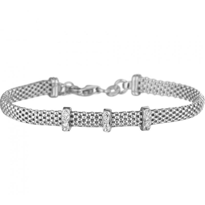 Mooie klassieke zilveren dames armband met zirkonia