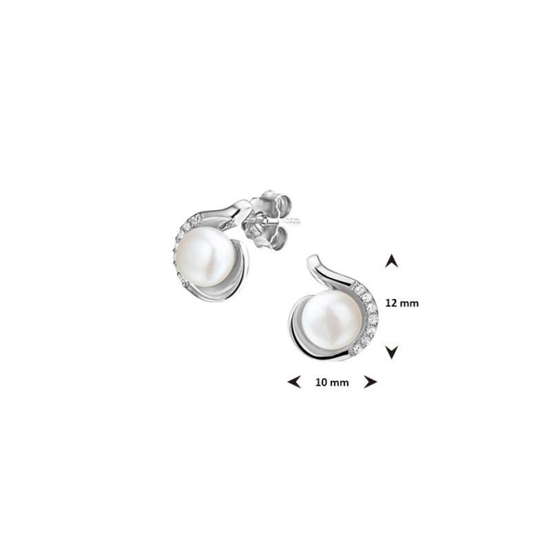 Parel oorknoppen van zilver met zirkonia