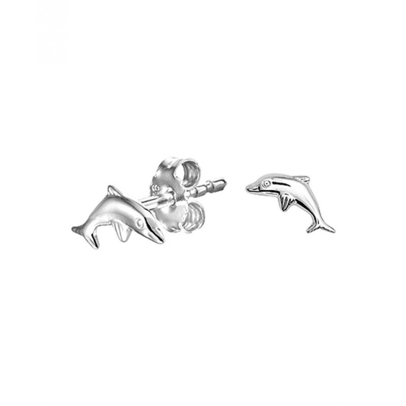 Set kinderoorbellen van zilver met thema dieren 8 mm