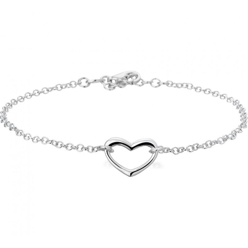 Zilveren dames bedelarmband het hart 19 cm