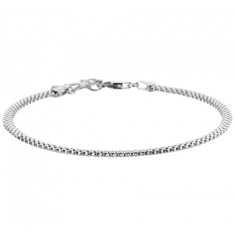 Zilveren dames schakelarmband met een lengte van 20 cm