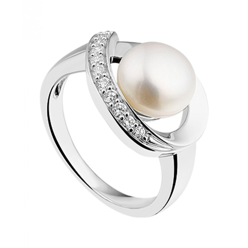 Zilveren elegante parel ring