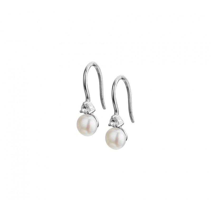 Zilveren oorhangers met parels en zirkonia
