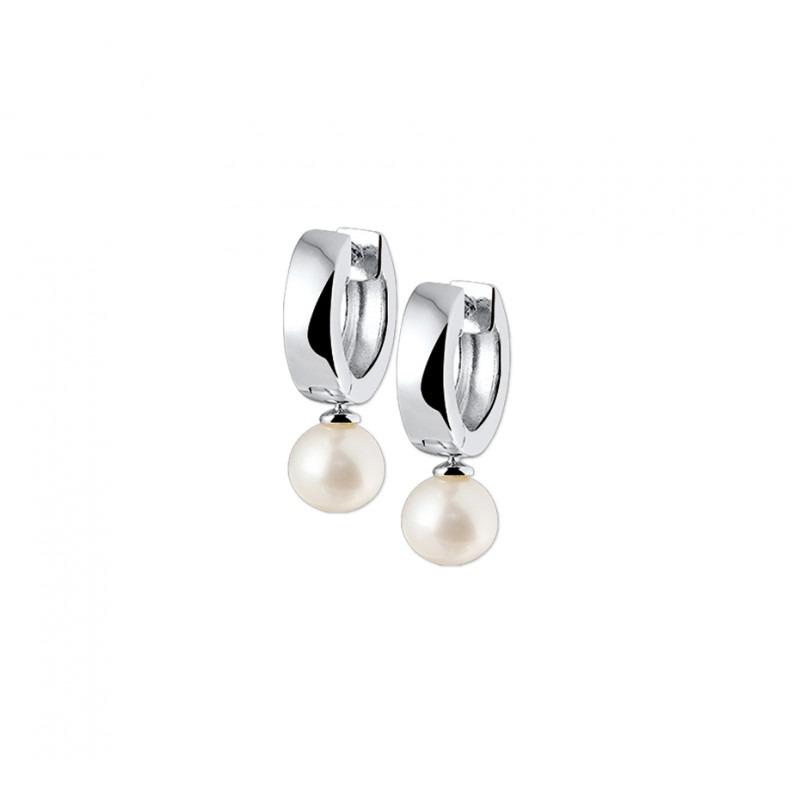 Zilveren oorringen met hanger parels