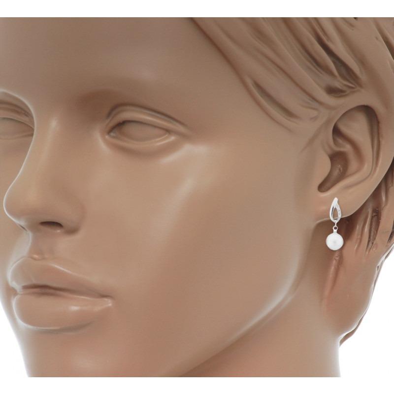 Zilveren parel oorhangers met zirkonias 7 mm