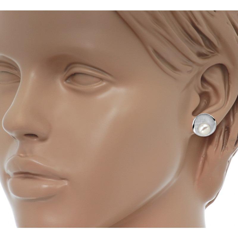 Zilveren parel oorknoppen 8 mm