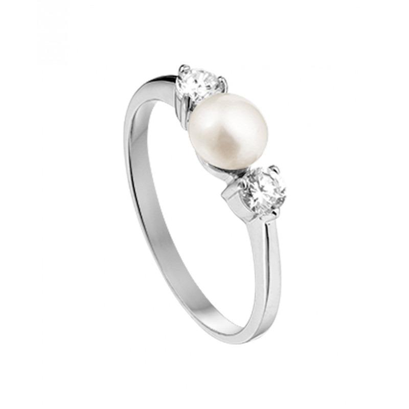 Zilveren ring met parel en zirkonia steentjes