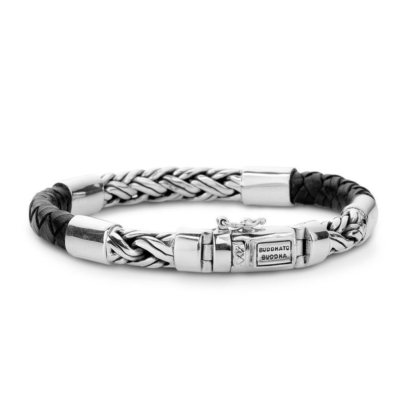 Buddha to Buddha 633BL Armband Katja Mix Silver Leather Black