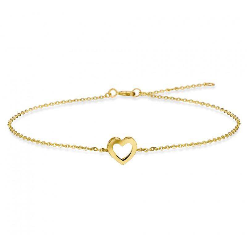 Armband hartje goud