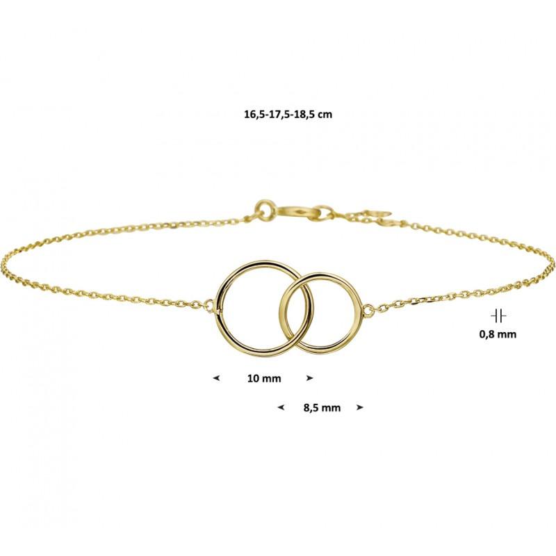 Dunne gouden armband groot en klein rondje