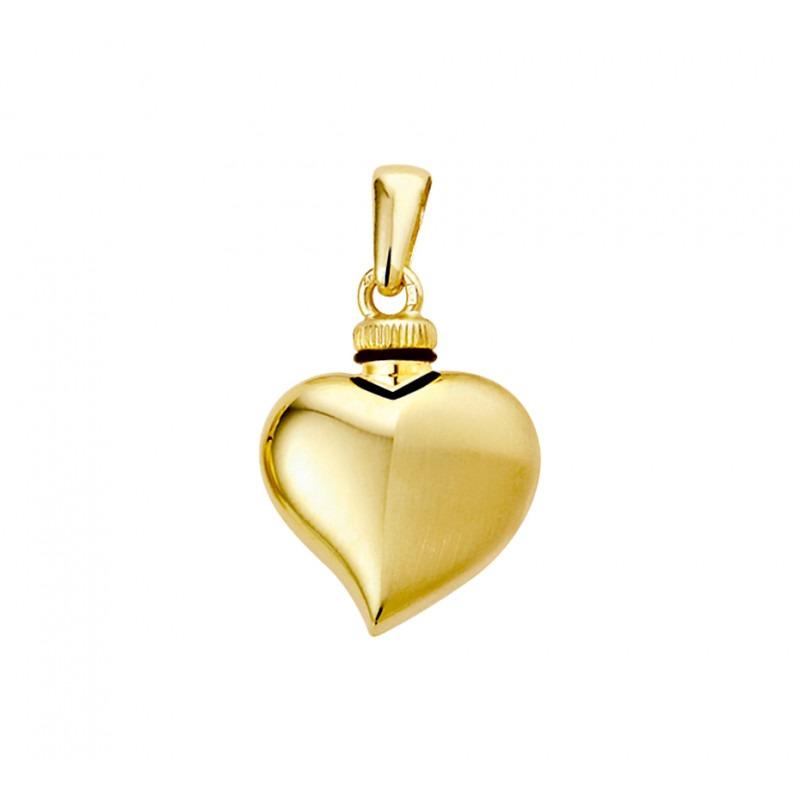 Gouden ashanger hart asymmetrisch glans en mat