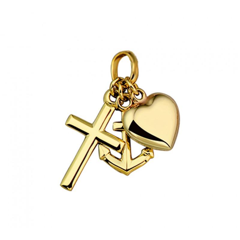 Gouden geloof hoop liefde hangers twee zijdig hol 22 mm