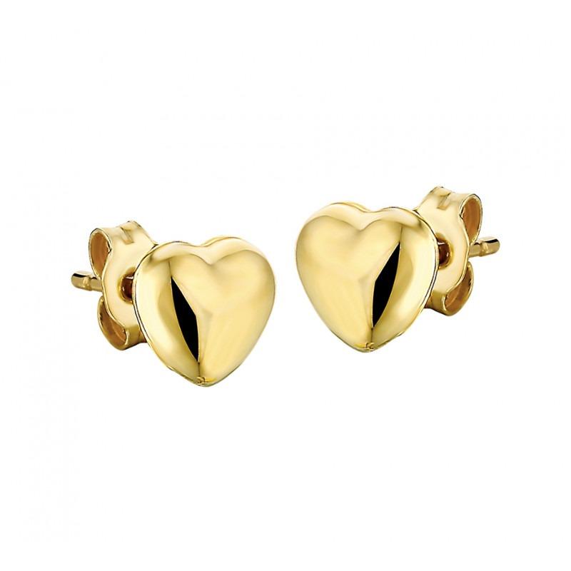 Gouden oorbellen hartje bol massief
