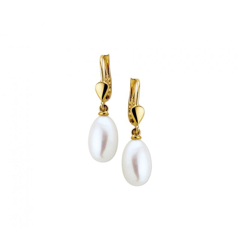 Gouden oorhangers met luxueze parel