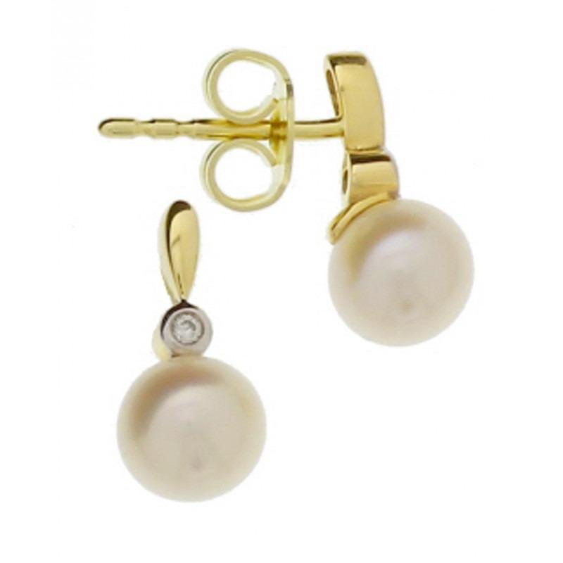 Gouden parel oorknoppen met diamantjes