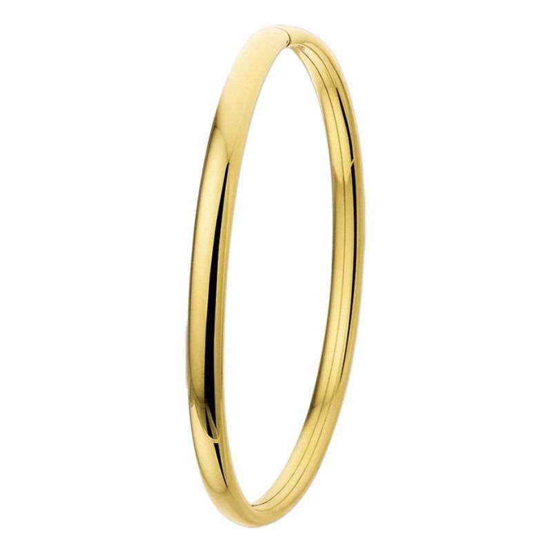 Gouden slavenarmband ovaal 4 mm 14-karaat