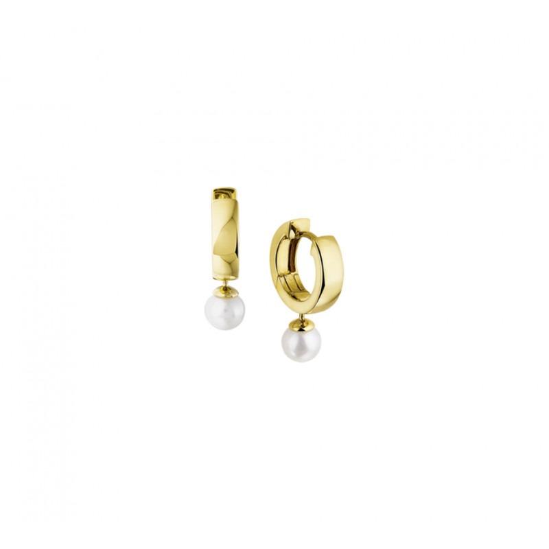 Luxe klapcreolen van 14-karaats goud met parel