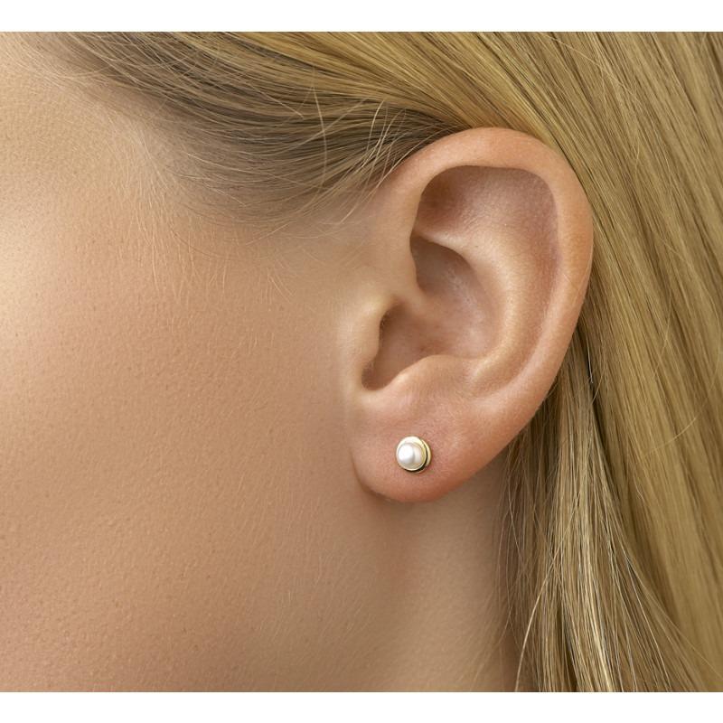 Setje gouden parel oorbellen