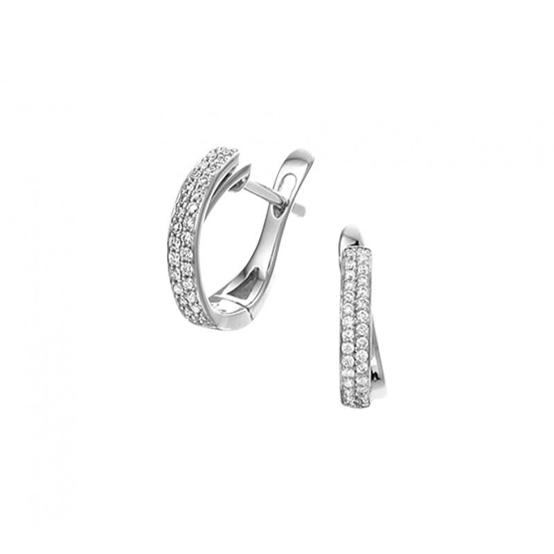 Luxe witgouden klapcreolen gezet met diamant