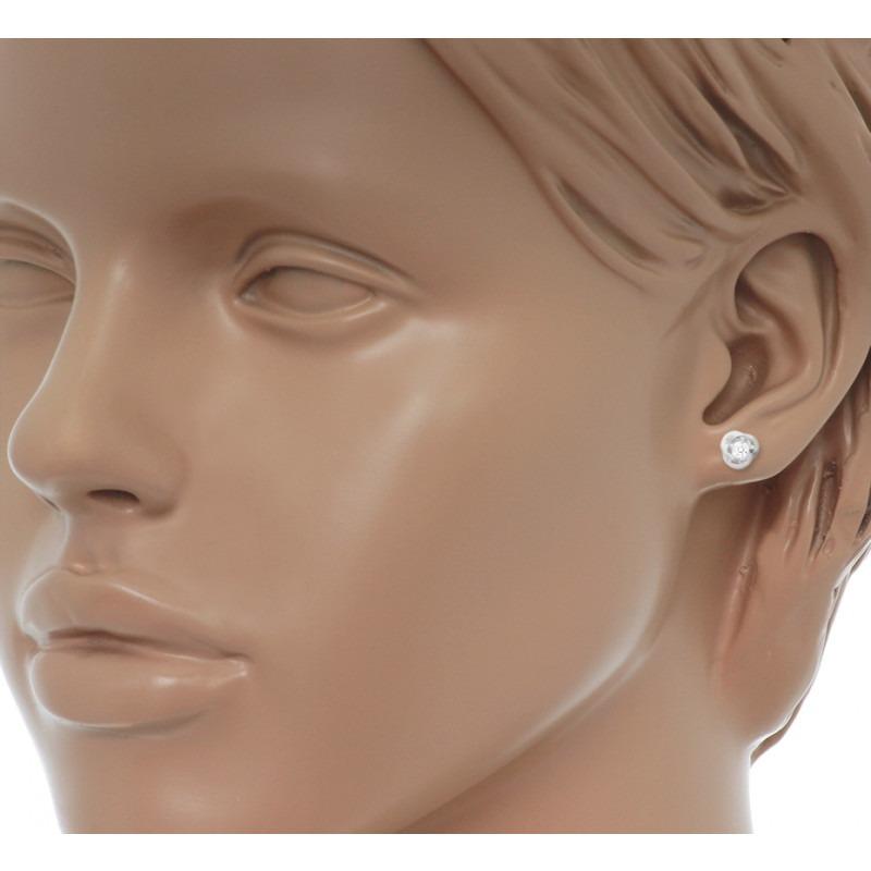 Witgouden oorbellen met zirkonia oorknopjes 7 mm