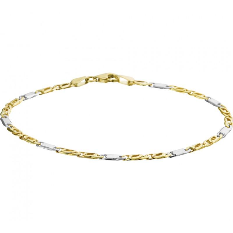Bicolor gouden fantasie armband met valkenoogschakel