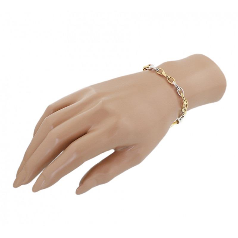 Bicolor gouden schakelarmband voor de sportieve vrouw