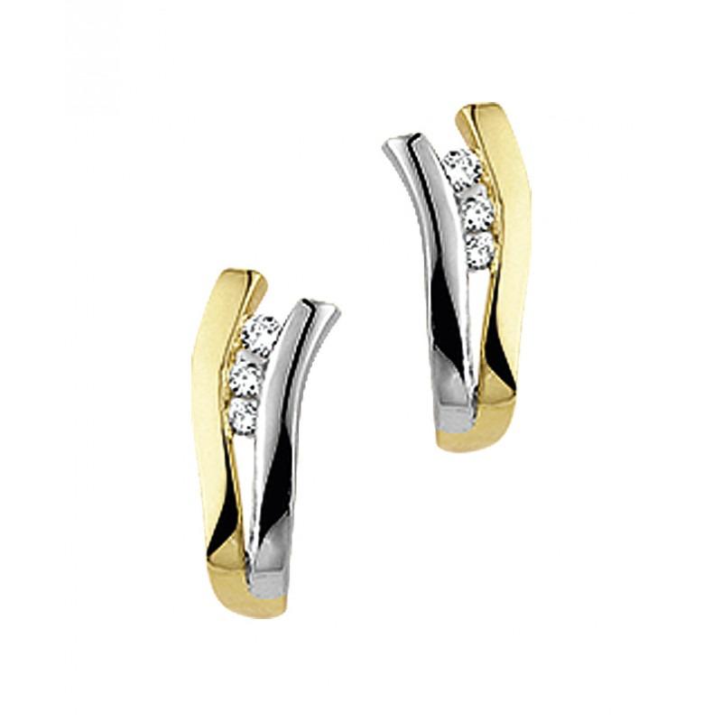 Diamanten oorstekers van bicolor
