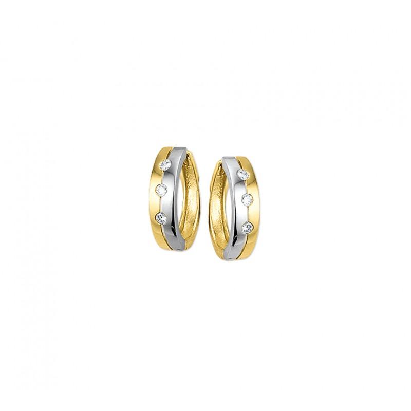 Klapcreolen goud en zilverkleurig met zirkonia 4 mm