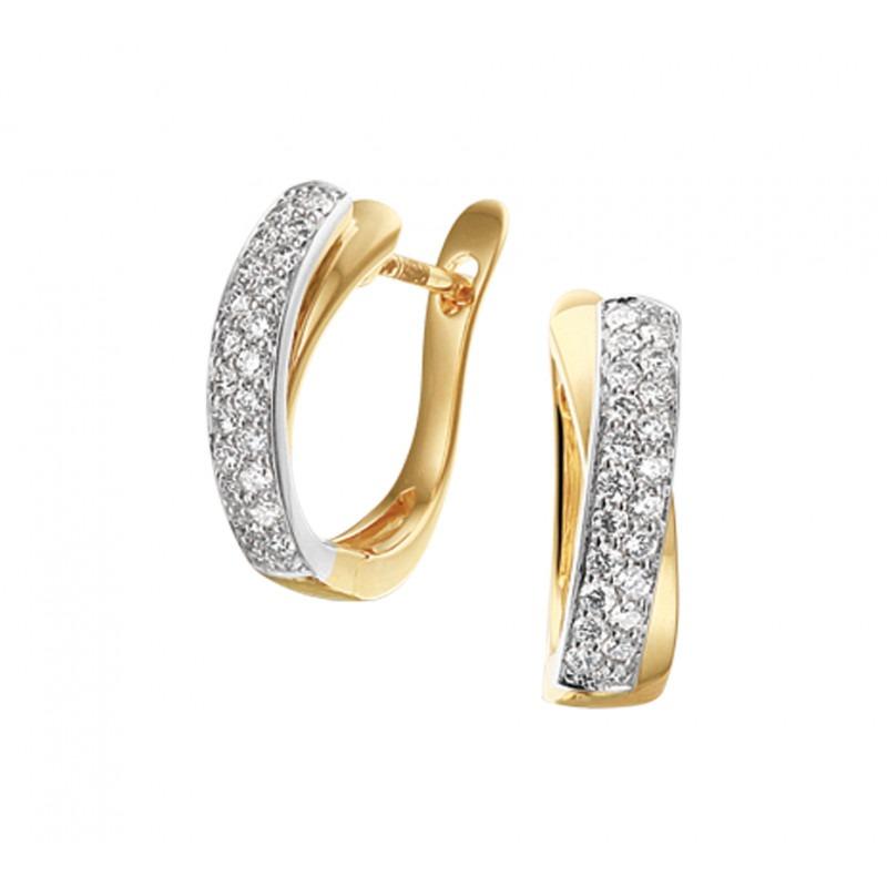 Klapcreolen met diamant 4 mm breed