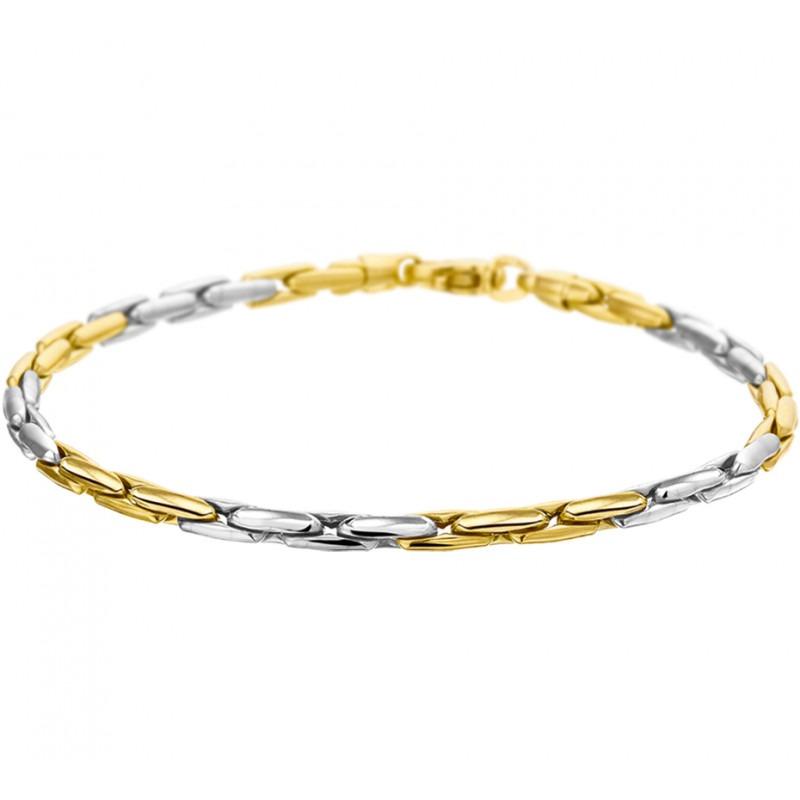 Luxueuze fijne bicolor gouden damesarmband