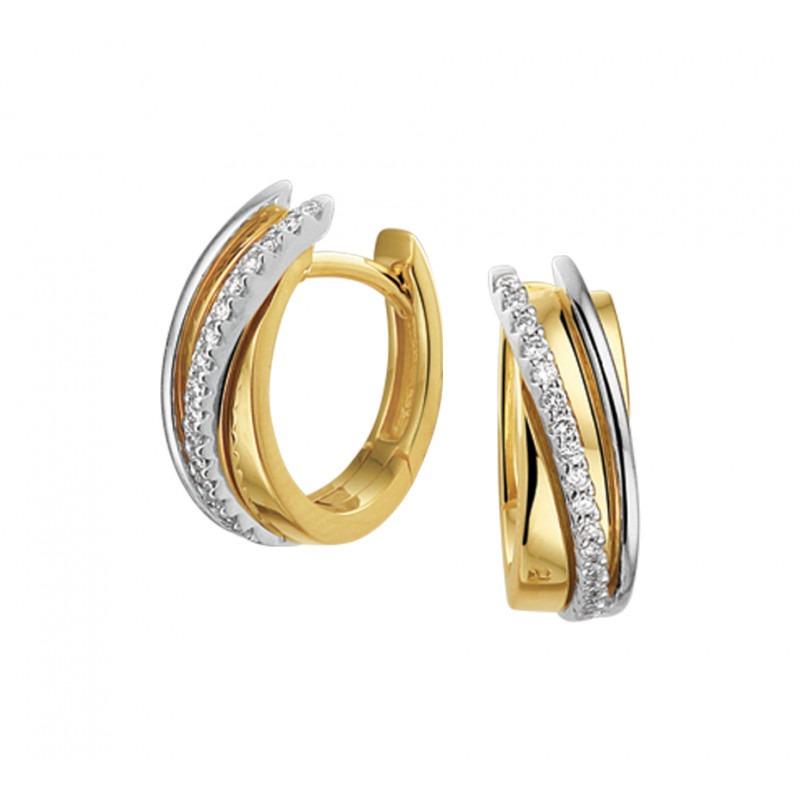 Mooie diamanten klapcreolen 5 mm breed