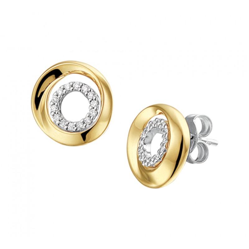 Schitterende bicolor oorknoppen met diamant