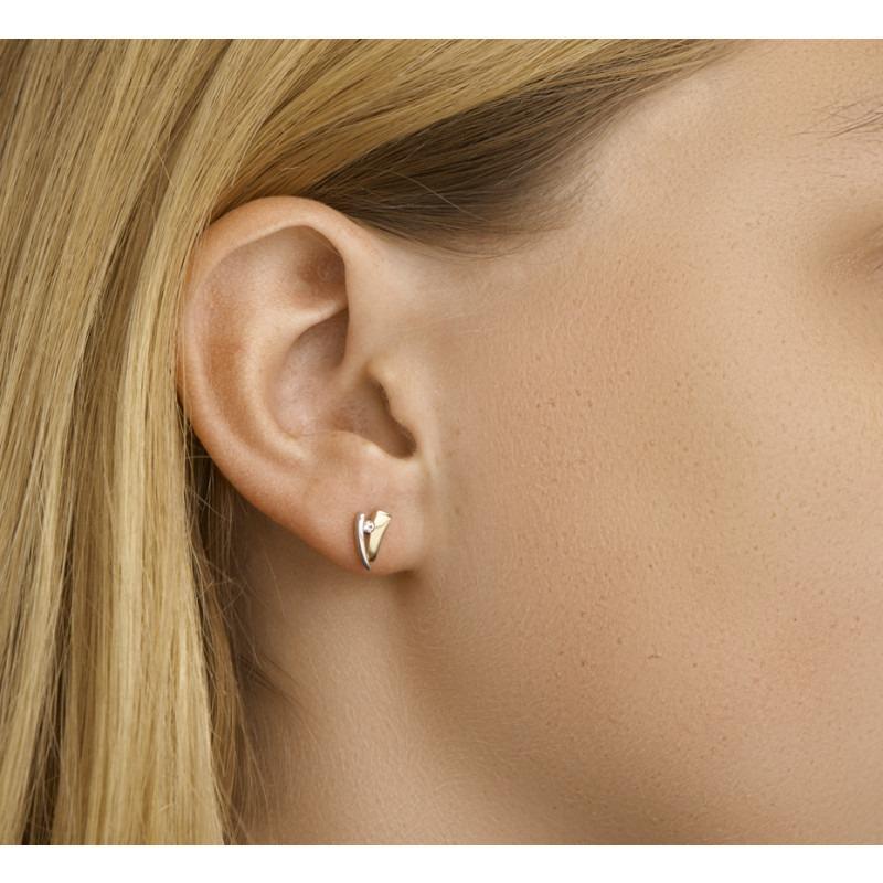 Zirkonia goudkleurig en zilverkleurige oorknoppen 4 mm