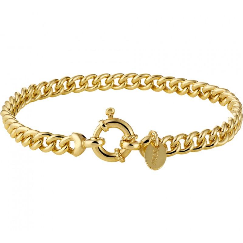 Gouden damesarmband met gourmet schakels