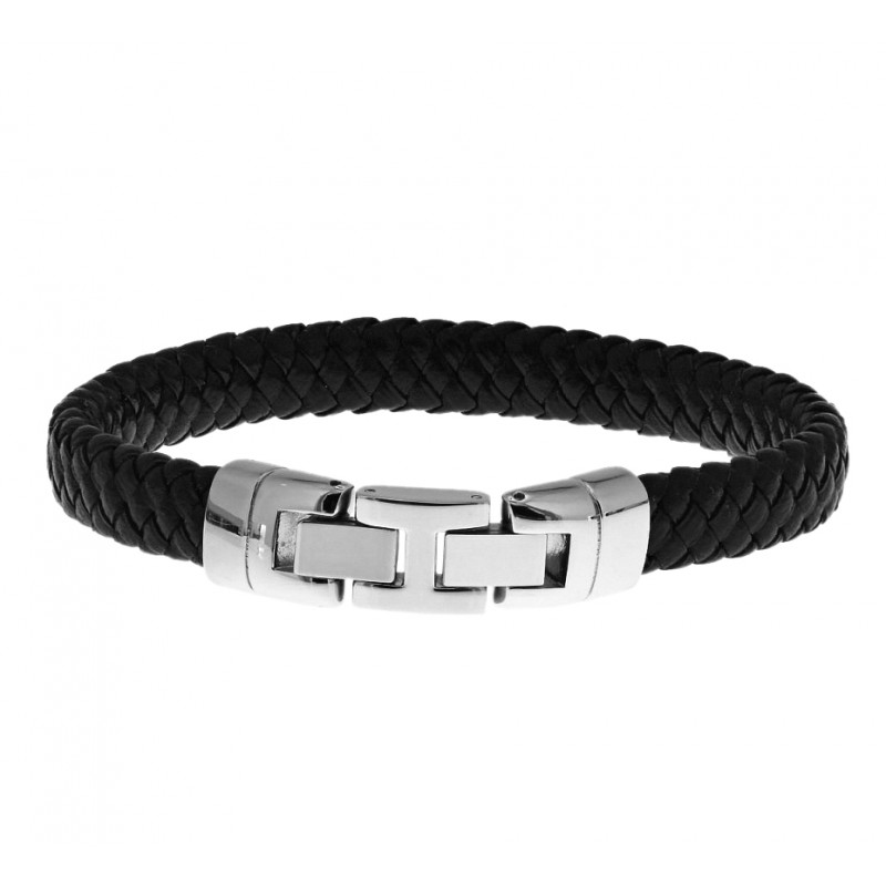 Armband heren van leer en staal, lengte 22,5 cm