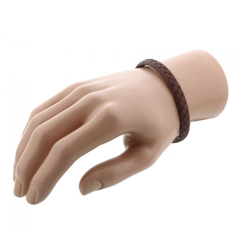 Heren armband bruin smal 21 cm