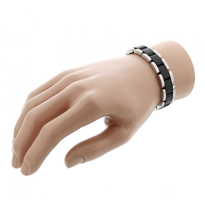 Heren armband staal met zwart carbon 21 cm