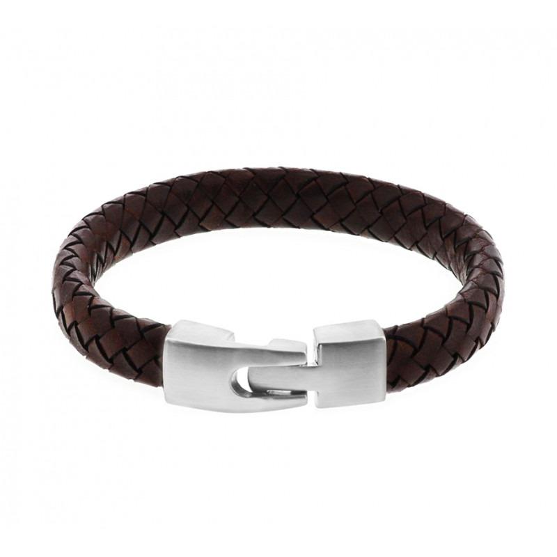 Leren armband bruin voor heren 21,5 cm
