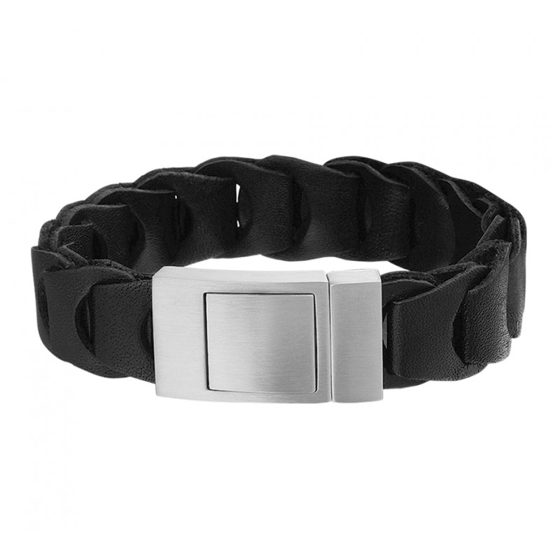 Robuuste zwart leren armband voor heren 21,5 cm