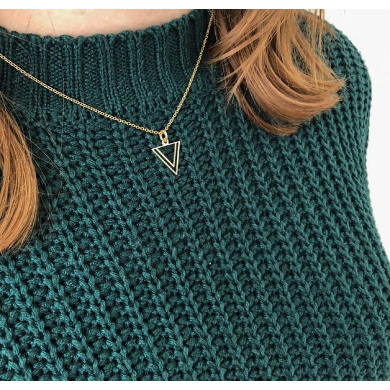 Gouden dubbele driehoek hanger met of zonder ketting