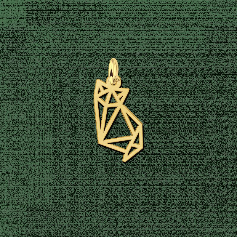 Geometrische hanger van goud kitten zittend