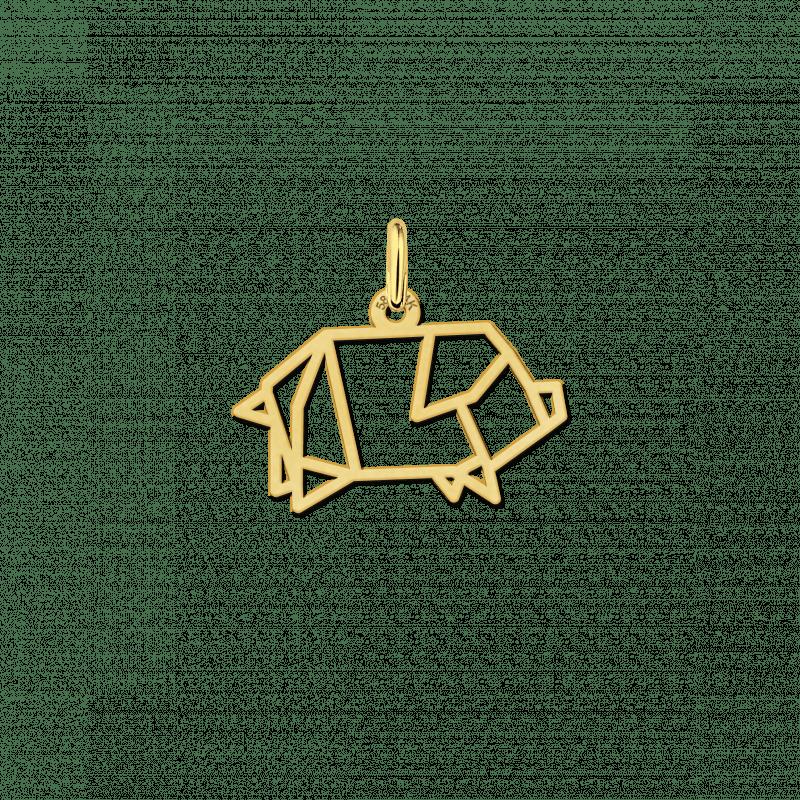 Geometrische hanger van goud varkentje