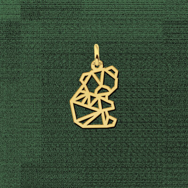 Gouden geometrische hanger klein beertje