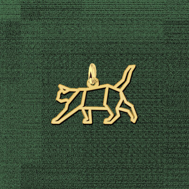 Gouden geometrische hanger poes