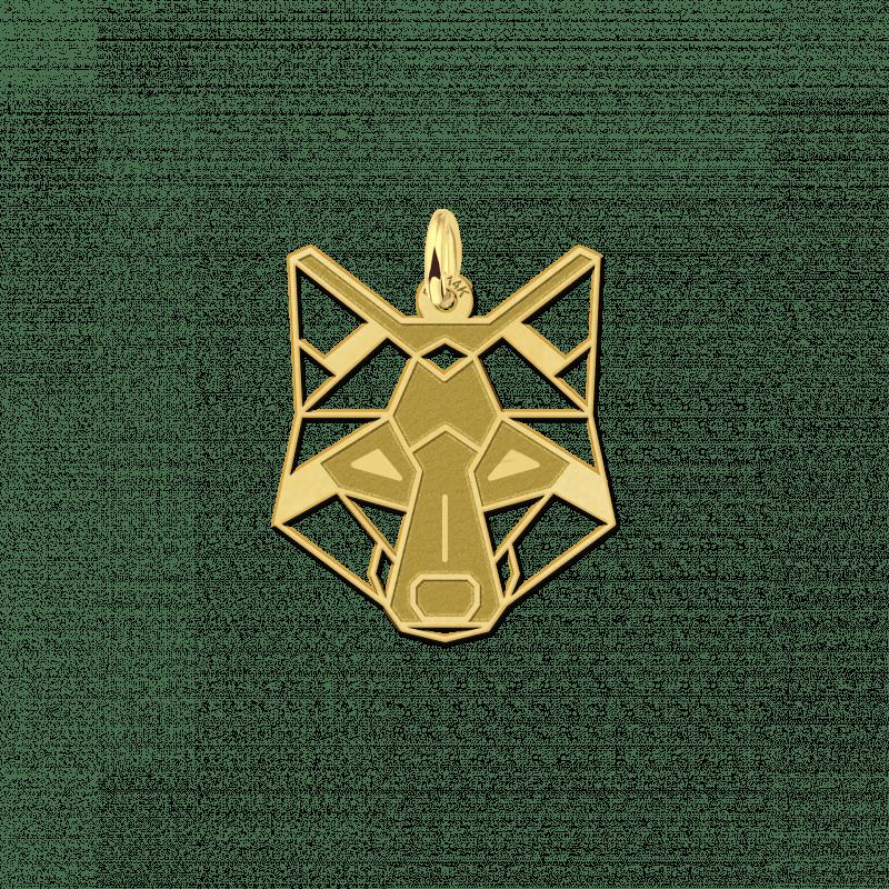 Gouden geometrische hanger wolf