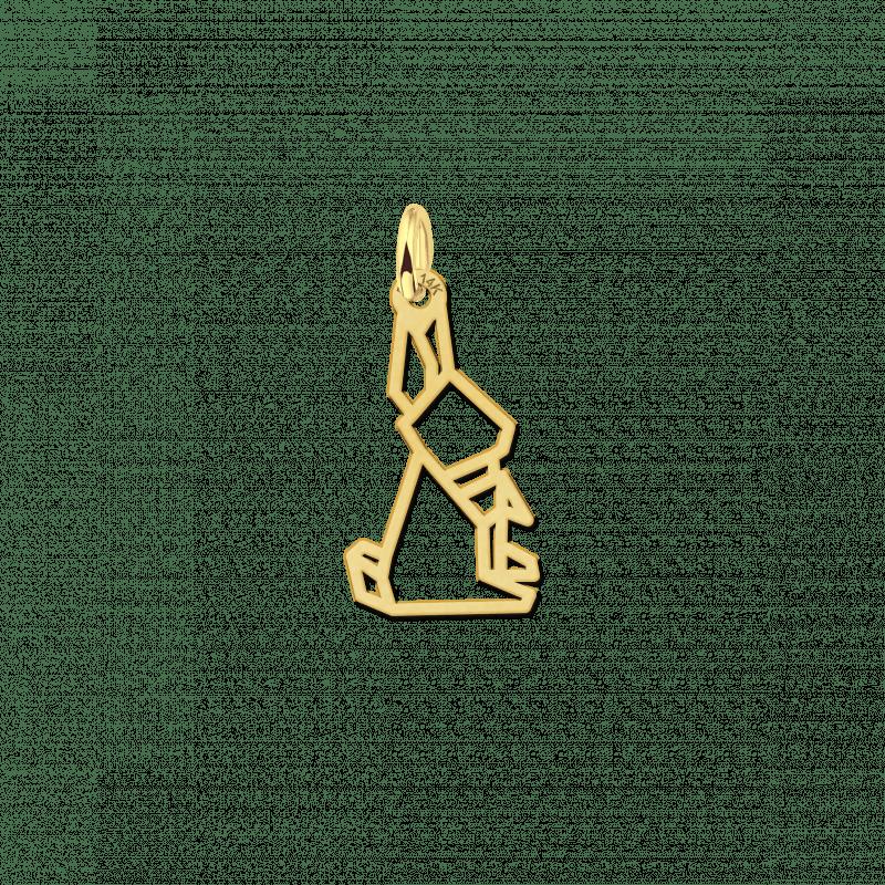 Gouden geometrische hanger zittend konijn