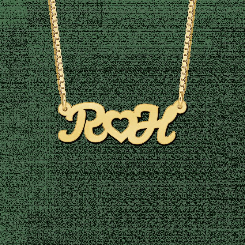 Gouden initialen naamketting met hartje
