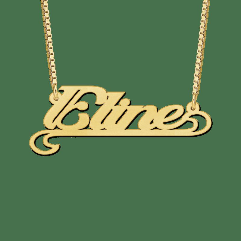 Gouden ketting met naam voorbeeld Eline